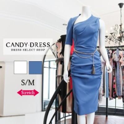 【SALE¥10,000】S/M Luxury Dress ストレッチ無地×アシンメトリーネックウエストギャザー五分袖タイトミディドレス GC190504 膝丈 ワン