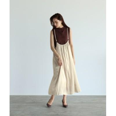 【LASUD】 [RADIATE] シルキーサテン サロペットスカート レディース ペールグレー FREE LASUD