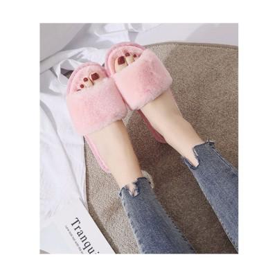 (seiheishop/セイヘイショップ)もこもこスリッパレディース 在宅勤務 冬靴 可愛い 暖かい ルームシューズ ふわふわ サンダル男女兼用 フライト 気持ちいい/レディース ピンク