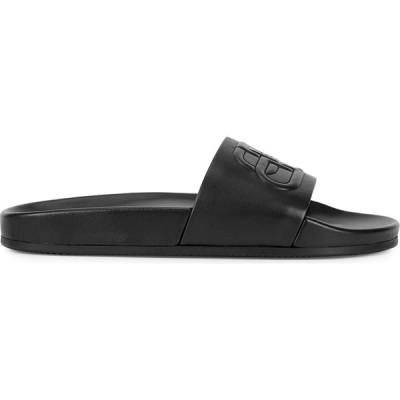 バレンシアガ Balenciaga レディース サンダル・ミュール シューズ・靴 Piscine black leather sliders Black
