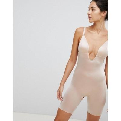 スパンク レディース ワンピース トップス Spanx Suit Your Fancy Low Back Mid Thigh Smoothing Body Beige
