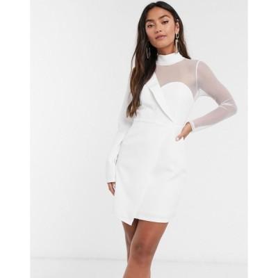 インザスタイル レディース ワンピース トップス In The Style x Saffron Barker asymmetric mesh tailored mini dress in white White