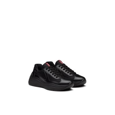 プラダ PRADA スニーカー シューズ 靴 ブラック カーフレザー ファブリック