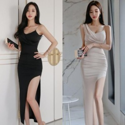 キャバ ドレス ロング シンプル 黒 アシンメトリー きれいめ 大きいサイズ xl ミニドレス キャバ パーティードレス ロング ワンピース 黒