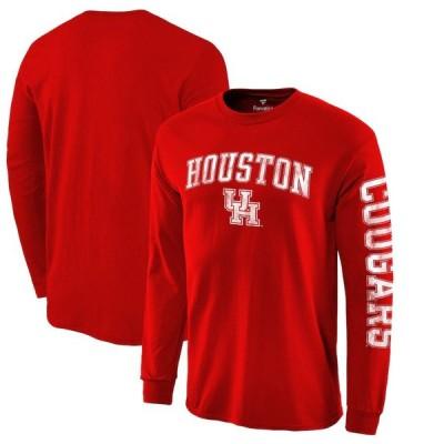 """ファナティックス メンズ Tシャツ 長袖 ロンT """"Houston Cougars"""" Fanatics Branded Distressed Arch Over Logo 2-Hit Long Sleeve T-Shirt - Red"""