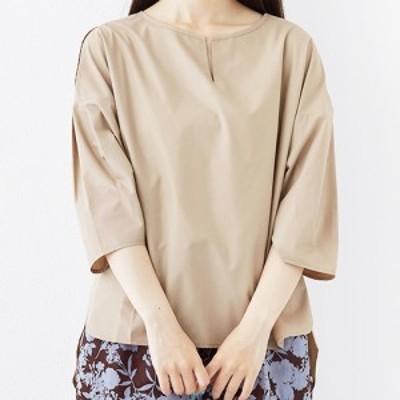 【merlot メルロー】キーネック ギャザー スリーブ ブラウス 七分袖 程よい 肌見せ デコルテライン綺麗 フリーサイズ