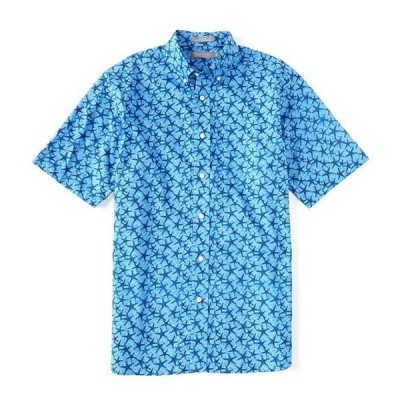 ダニエル クレミュ メンズ シャツ トップス Daniel Cremieux Signature Poplin Print Light Indigo Short-Sleeve Woven Shirt