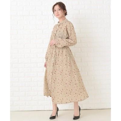 ドレス 花柄フレア 長袖ロングワンピース