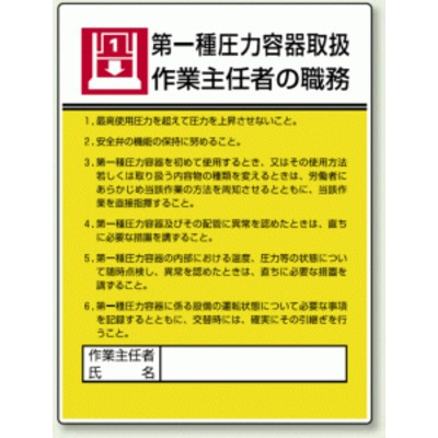 第一種圧力容器取扱 「作業主任者職務表示板」 (安全用品・標識/安全標識)