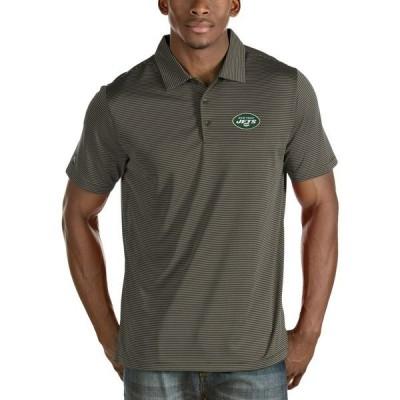 アンティグア メンズ ポロシャツ トップス New York Jets Antigua Quest Stripe Polo