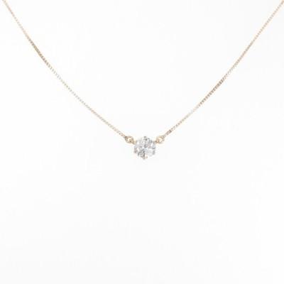 K18PG ソリティア ダイヤモンドネックレス