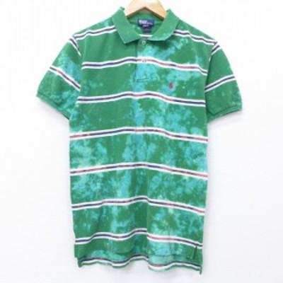 古着 半袖 ブランド ポロ シャツ 90年代 90s ラルフローレン Ralph Lauren ワンポイントロゴ 鹿の子 コットン 緑 グリーン ボーダー ブリ