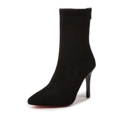 靴ハイヒールアンクルブーツショートブーツピンヒールポインテッドトゥ女性ブーティー通勤美脚お洒落レディースシューズ