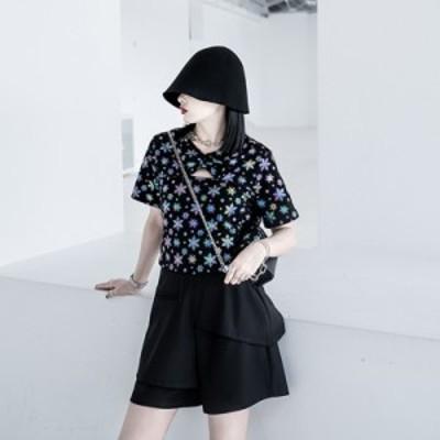 モード系 春服 半袖シャツ 穴空き マジックカラー ストリート系 大人きれいめ カジュアル プチプラ オルチャン 10代 20代
