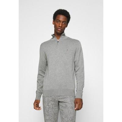 トミー ヒルフィガー ニット&セーター メンズ アウター BLEND ZIP MOCK - Jumper - grey