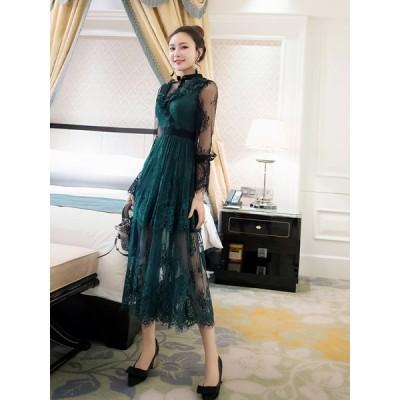 パーティードレス 大きいサイズ 結婚式 二次会 ワンピース お呼ばれドレス ロング 袖あり 長袖 お呼ばれ ワンピース 刺繍 レース フリル