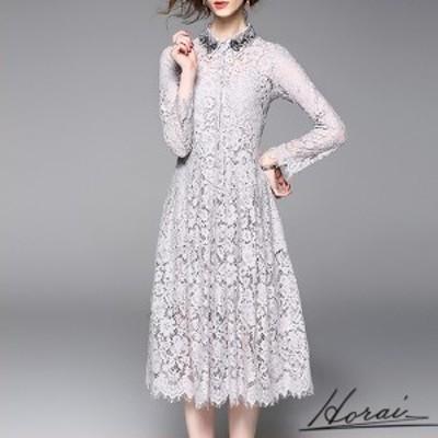 韓国 パーティードレス 長袖 ミディ丈 ビーズ装飾 スカート ワンピース フォーマル 結婚式 二次会 秋冬 20代 30代 40代