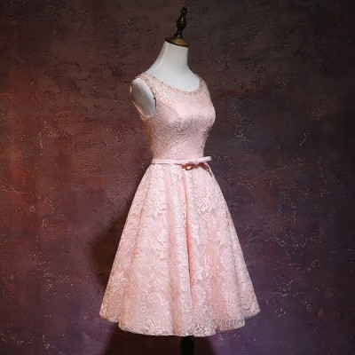 カラードレス パーティードレス ショートドレス ワンピース おしゃれ ウェディングドレス お呼ばれ セクシー 高級ドレス ワンピ ミニドレス 結婚式[ピンク]