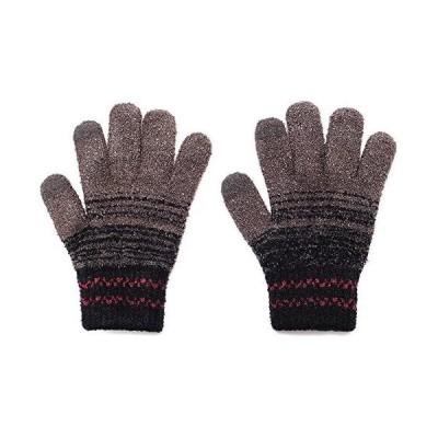 (グローブデポ)GlovesDEPO メンズ【ふわもこ】ニット手袋/リブ2重構造カフス かすれボーダー柄 チャコールグレー F