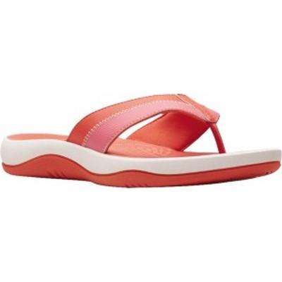 クラークス レディース サンダル シューズ Women's Clarks Sunmaze Surf Flip Flop Bright Coral Synthetic