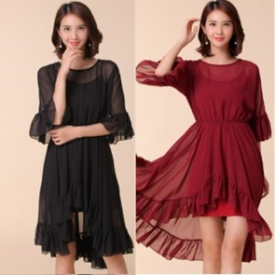 ミニドレス パーティードレス ミニ ドレス ワンピース 膝丈 袖付き 大きいサイズ 透け感 フリル ブラックドレス イブニングドレス