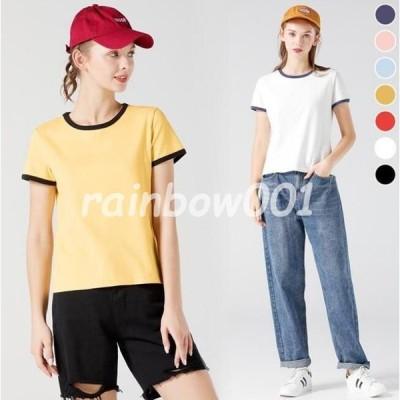 半袖Tシャツ レディース Tシャツ 夏 カットソー バイカラー ラウンドネック サマーTシャツ 半袖 コットン 夏Tシャツ 爽やか トップス