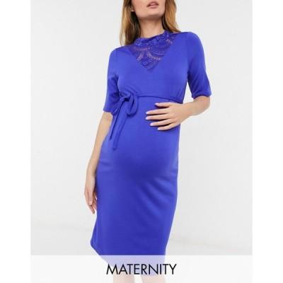 ママリシャス Mama.licious レディース ワンピース マタニティウェア ミドル丈 Mamalicious Maternity Midi Dress With Tie Waist In Blue ディープブルー