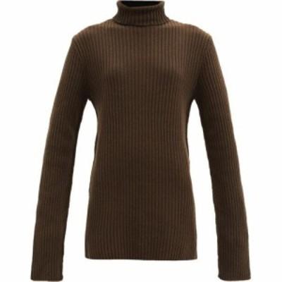 アンドゥムルメステール Ann Demeulemeester レディース ニット・セーター ロング トップス Roll-neck ribbed-wool longline sweater Kha