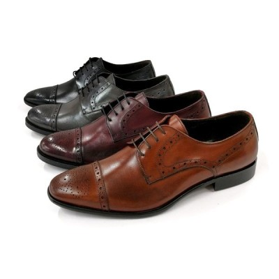 【Gianni Russo ジャンニ ルッソ】メンズ 外羽根 レザー メダリオン ストレートチップシューズ (911) イタリア製 革靴 紳士靴 結婚式 冠婚葬祭