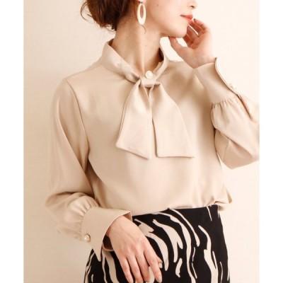 シャツ ブラウス リボン襟とパールのボタン上品なトップス