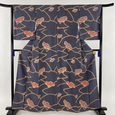 小紋 秀品 花 幾何学 灰紫 袷 身丈160cm 裄丈64.5cm M 正絹 中古 PK70