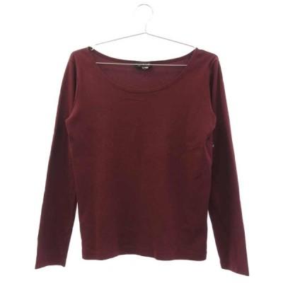 agnes b. (アニエスベー) ラウンドネックコットンフライス長袖Tシャツ ワインレッド 無地カットソー