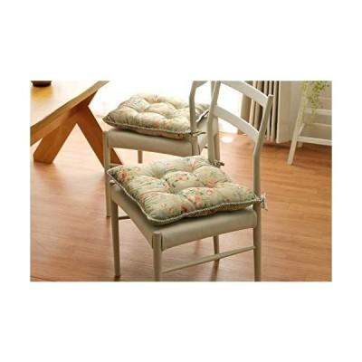 イケヒコ クッション 椅子用 シート エレガンス 花柄 『モニエール』 グリーン 約45×45cm 4枚組 9508410