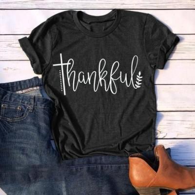 レディース 衣類 トップス Casual Letter Print T Shirt for Women Short Sleeve O Neck Thanksgiving Tシャツ
