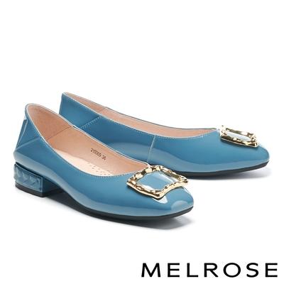 低跟鞋 MELROSE 復古質感金屬方釦全真皮方頭低跟鞋-藍
