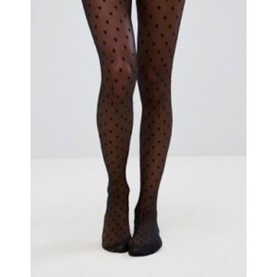 エイソス レディース レギンス ボトムス ASOS DESIGN medium polka dot black tights Black
