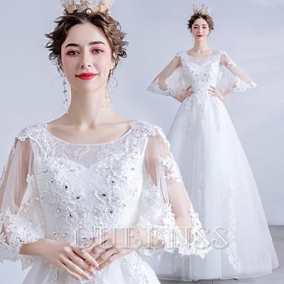 ウェディングドレス パーティードレス 花嫁ドレス 20代 30代 40代 ロングドレス 二次会 白ホワイト aライン ハイウエスト 韓国 披露宴 結婚式 発表会