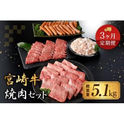 DA20 《期間・数量限定》3か月お楽しみ定期便「宮崎牛焼肉セット」総重量5.1kg