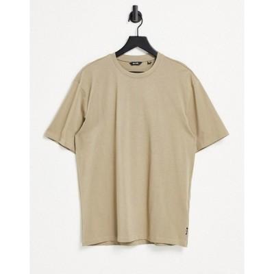 オンリーアンドサンズ メンズ Tシャツ トップス Only & Sons oversized t-shirt in beige Chinchilla