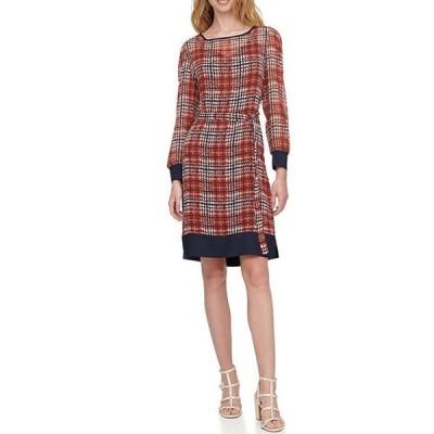 ダナ キャラン ニューヨーク レディース ワンピース トップス Contrast Trim Plaid Print Chiffon Long Sleeve Belted Shift Dress