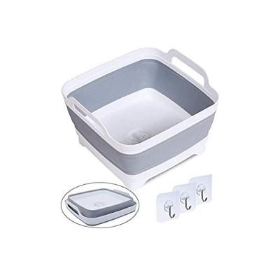 DUOFIRE バケツ 折りたたみ 洗い桶 アウトドアバケツ 大容量9L 旅行用品 洗濯 キッチン 排水栓付き 栓から水漏れしない 取っ手付き 角型