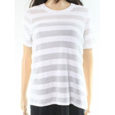 Michael Kors マイケルコルス ファッション トップス Michael Kors NEW White Sheer Striped Womens Size Medium M Knit Top
