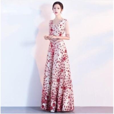 ロングドレスパーティードレスAラインオシャレレディースドレス上品ドレス七分袖レース上品花柄二次会ドレス