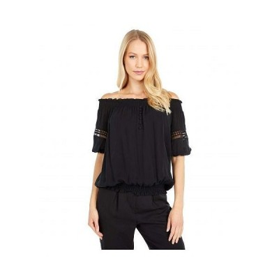 Nicole Miller 二コールミラー レディース 女性用 ファッション ブラウス Off-the-Shoulder Lace Trim Smocked Top - Black