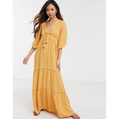 エイソス レディース ワンピース トップス ASOS DESIGN lace insert tie front maxi dress with kimono sleeve in mustard