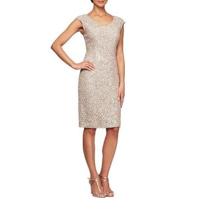 アレックスイブニングス レディース ワンピース トップス Petite Size Corded Lace Cap Sleeve V-Neck Sheath Dress Champagne/Ivory