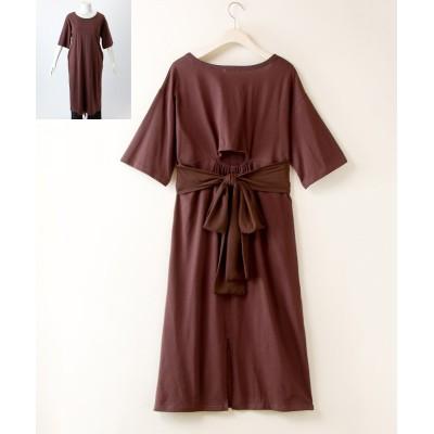 【大きいサイズ】 バック背中あきリボンワンピース ワンピース, plus size dress