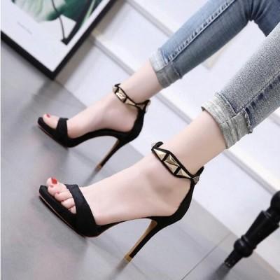 新品 ブラックサンダル ハイヒール レディース ストラップ サンダル 履きやすい 金属 ピンヒール 合わせやすい  婦人靴34-39