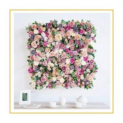 QINQIAFF Artificial Silk Rose 3D Flower Wall Background Wedding Party Decor 100x100cm【並行輸入品】