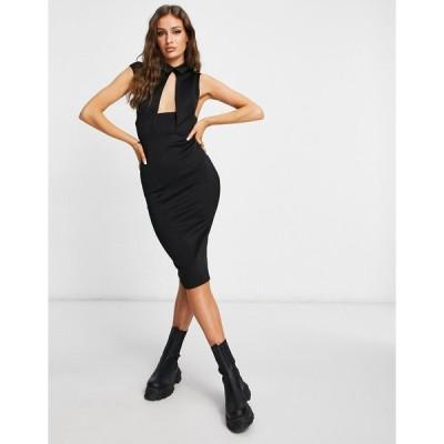 エイソス ミディドレス レディース ASOS DESIGN waistcoat plunge midi pencil dress in black エイソス ASOS ブラック 黒